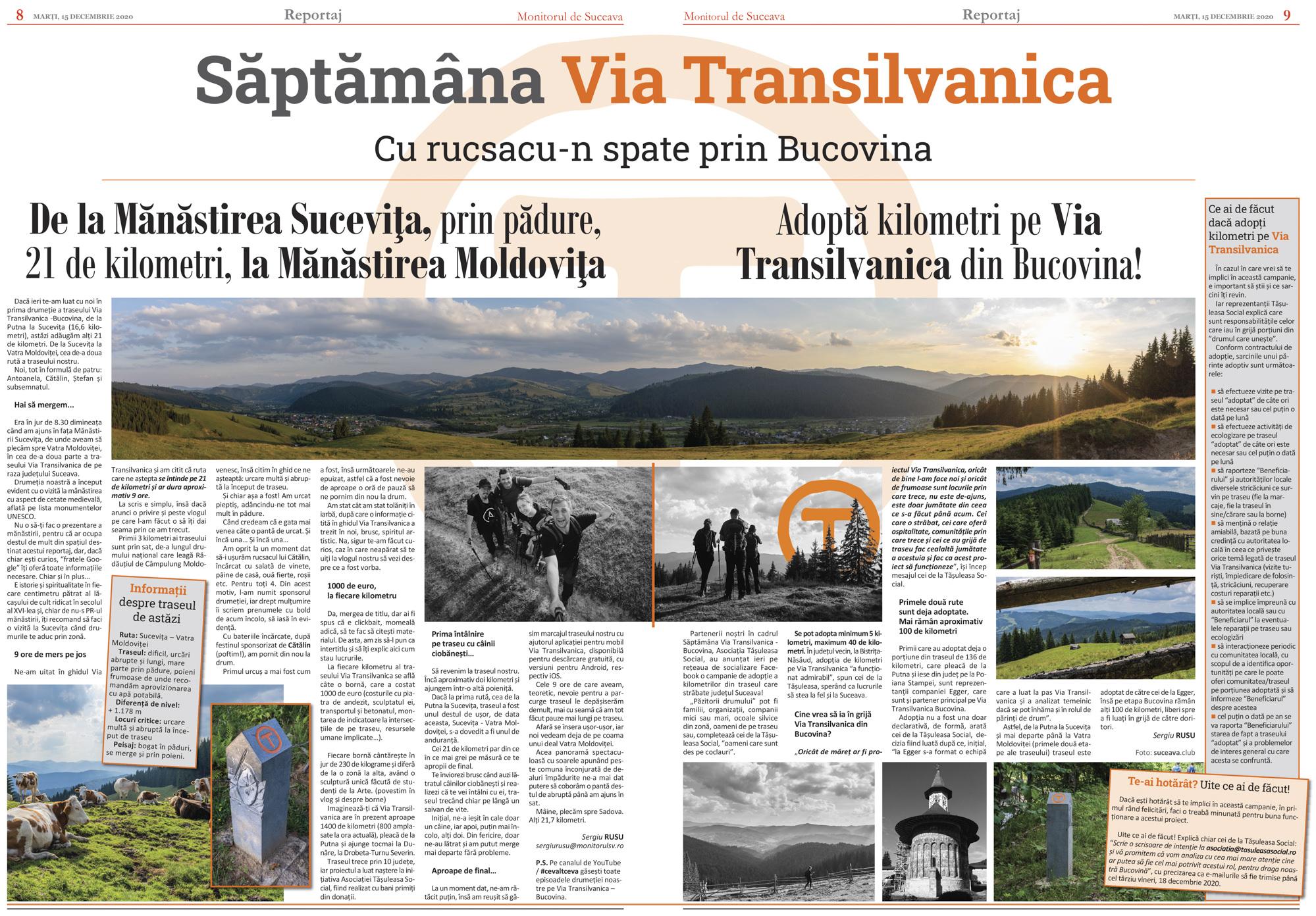 Via Transilvanica (II). De la Sucevița la Vatra Moldoviței