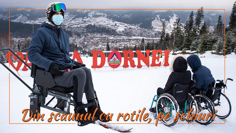 Din scaunul cu rotile, pe schiuri